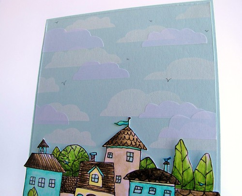 MFT Die-namics clouds as foam background stamp Squigglefly Whimsy Town by mel stampz