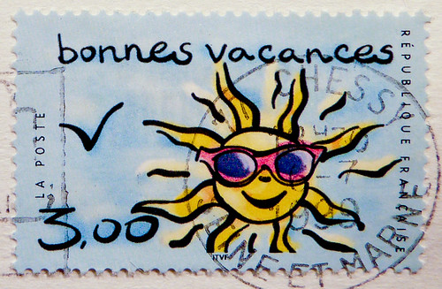 beautiful stamp France 3.00 F (bonnes vacances, happy holidays, beautiful vacation) Francia Frankreich Franca timbres Republique Francaise Fransa french stamps Briefmarke timbre marka selo francobollo Sonne sun sunglasses
