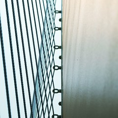 Stair wires (tanakawho) Tags: blue shadow abstract geometric metal wall architecture concrete wire stair graphic interior line staircase squareformat tanakawho