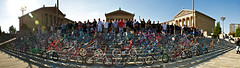 Philly Bike Culture (part I) (Bastiaan Slabbers) Tags: people panorama usa philadelphia bike bicycle cycling bmx ride unitedstates pennsylvania oldschool retro event 80s gathering 70s groupshot rockysteps slightlymotionblurred bmxmuseumcom phillyoldschoolbmxride2010