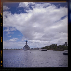 USS Missouri (natedregerphoto) Tags: travel blue 120 tlr film water clouds mediumformat square hawaii fuji horizon pearlharbor battleship argus lightroom ussmissouri mightymo argoflex brooklynnavyyard pro160s bb63 iowaclass oahu bigmo epsonv500 natedregerphoto natedreger
