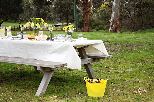 Picnic table setting & Picnic table setting - a photo on Flickriver