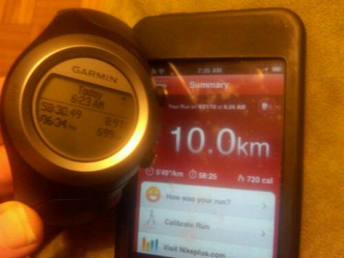Bert the Garmin shows 8.91k - Nike Plus shows 10k. WTF?