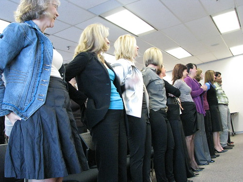 Harlequin employees participating in author Tosca Reno's ice-breakder