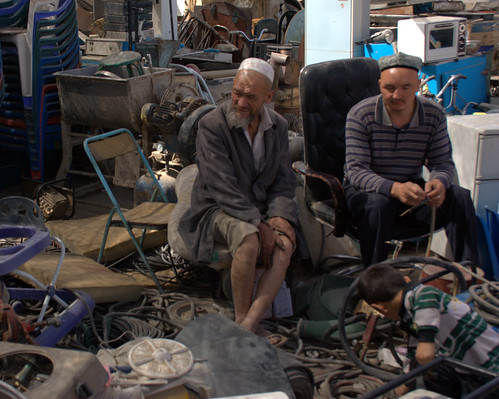 Junk Salesmen at Hotan Sunday Market