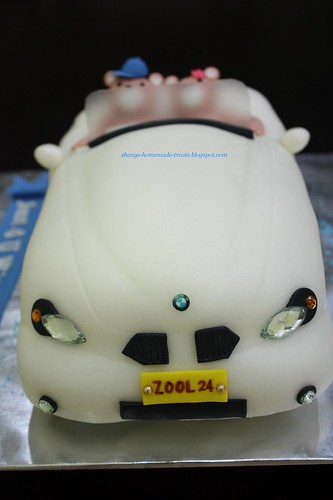BMW Convertible Car Cake with Friends Forever Bears