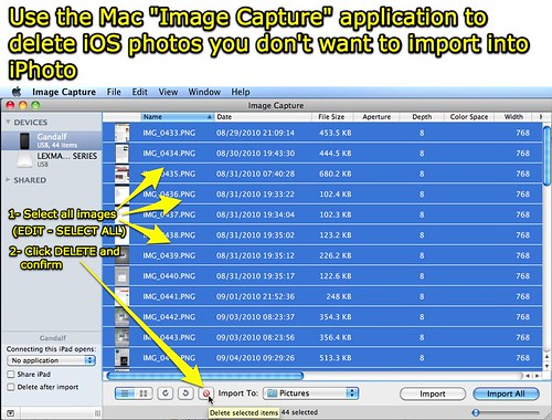 Delete iOS images with Image Capture