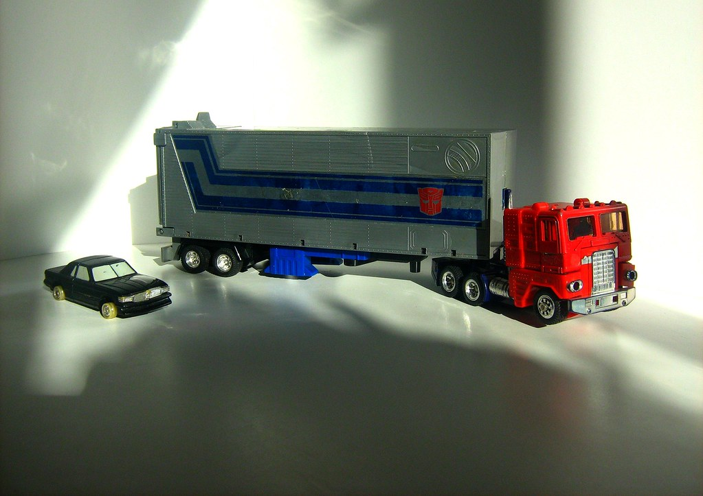 Hasbro Toys (1984): Transformers: Generation One Autobot - Optimus Prime Truck and Trailer and Tonka/Bandai Toys (1985): GoBots - Rube (Mercedes Benz SL500)