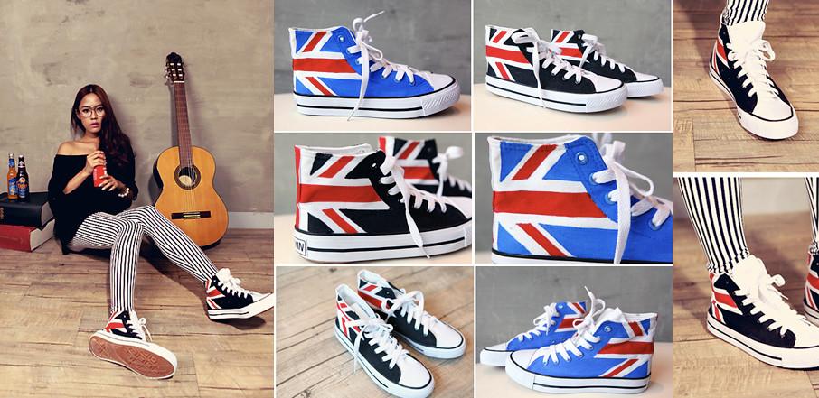 Кеды с британским флагом.  ЛОСИНЫ в полоску.