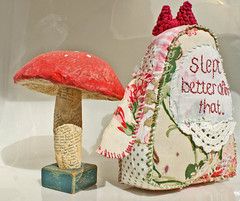 rhoda's back  with toadstool (grrl+dog) Tags: pink poem recycled embroidery australia plush softie stitching patchwork vintagebuttons primitivedoll textilesculpture grrldog deniselitchfield vintgaefabric