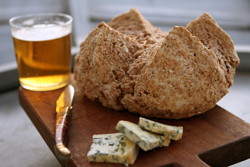 brown bread, beer, cheese