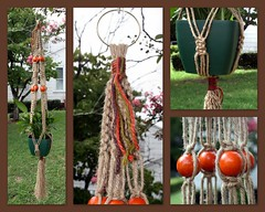 Autumn Orangeberries Macrame Plant Hanger (Macramaking- Natural Macrame Plant Hangers) Tags: wood autumn orange plants holiday plant tree green fall beauty hippies vintage garden happy idea beads spring pretty basket natural herbs asheville handmade unique