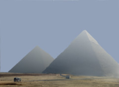 The Giza Pyramids of the Pharaohs' Chefren and Micerino in a particular light. (sanguedolces) Tags: egypt giza thepyramids thenileriver thepharaohsgrave