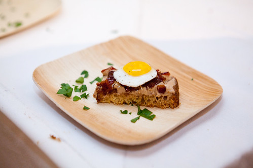 Emma Hearst of Sorella's Pate di Fegato: Chicken liver mousse with Candied Bacon & Fried Egg