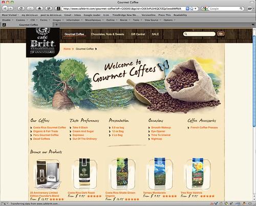 Screen shot: CafeBritt.com
