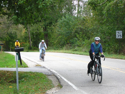 Cycling along Huron River Drive