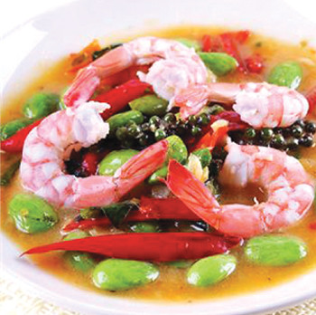 Sir-fried-cluster-bean-with prawn, samsen villa