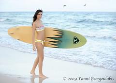 Jacqueline Turner-Haury Surfboard Beach (Yankis) Tags: sky sexy beach water girl beautiful fashion birds del mar model sand surf florida miami board south suit bikini surfboard brunette bathing nic yanni georgoulakis