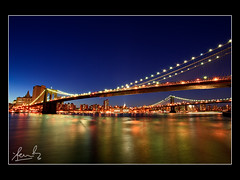 Brooklyn and Manhattan Bridges New York (sachman75) Tags: longexposure sunset usa newyork america bridges brooklynbridge manhattanbridge bluehour 5dmark2 canon5dmarkii
