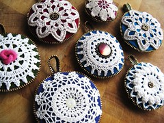 Christmas ornaments (woolly  fabulous) Tags: christmas vintage pretty recycled buttons felt ornaments zipper lacy motifs ecofriendly doilies pincushions