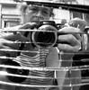Woman at work (gertipetersen -is like a flashlight ....on...off..) Tags: myself mirror blackwhite zwartwit spiegel splinter ik scherven