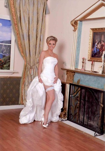 Alena wearing her garter from Bridal Styles bridal accessory boutique, New York