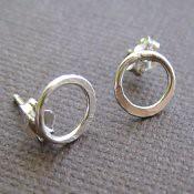 Tiny Sterling Hoop Post Earrings