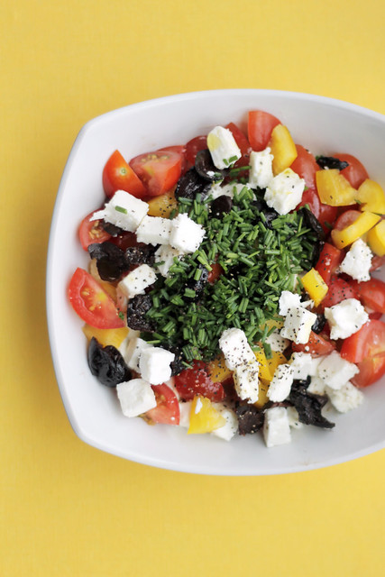 Greek salad with Feta, Tomatoes and Yellow Peppers