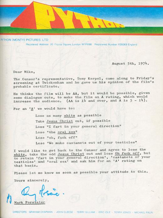 Letter asking for oral sex