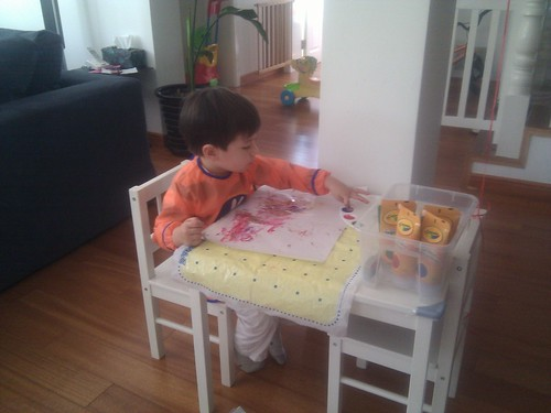 Scott is fingerpainting at home #vacation