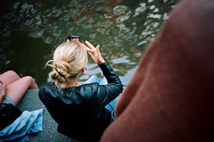 Day 21 (mb17chung) Tags: woman holland film netherlands girl make up amsterdam zeiss t mirror canal back riverside kodak candid iii celebration contax blond voyeur carl blonde faceless tvs behind cosmetics portra 800 compact oranje 3060 c41 variosonnar f3767