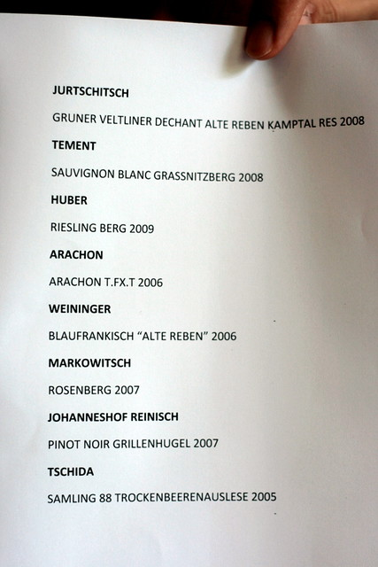The names of the wines featured