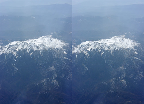 Mount Norikura, stereo parallel view