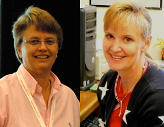 Betsy Greene (L) and Kathy Anderson (R) were honored with one of four Partnership Awards from NIFA for their outstanding work on the eXtension HorseQuest Leadership Team.