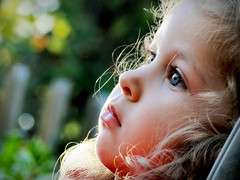 Autumn Through a Child's Eyes (Truebritgal) Tags: old blue autumn two fall girl up closeup yard outdoors eyes backyard toddler sitting dof child close bokeh blueeyes highlights dreaming dreamy years through staring childs gazing twoyearsold truebritgal