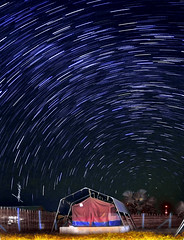 African Star Trails. (Tomasito.!) Tags: africa longexposure plants lightpainting tree art love nature beautiful field grass night rural photoshop fence macintosh landscape gold star 1 interesting mac nikon gate earth southsudan steel sudan philippines surreal tent fisheye mostinteresting filipino universe 16mm startrails milkyway tomasito d90 nikond90 mygearandmepremium mygearandmebronze
