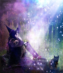 Witchcraft (Femininelure) Tags: light halloween cat witch magic selfportait witchcraft spells