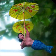 Sueo Tropical (1crzqbn) Tags: wood blue color macro yellow reflections bokeh naturallight parasol tropical mermaid project365 101010 macromondays 1crzqbn sueotropical mexicanfolkartfigure