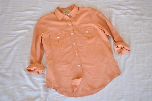 vintage coral silk shirt