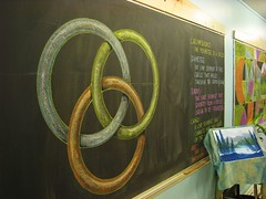 Borromean Rings - Geometry Chalk Drawing Grade 6 Rick Tan Davis Waldorf School (Syrendell) Tags: art chalk geometry waldorf rings math chalkboard grade6 daviswaldorfschool ricktan borrowmean