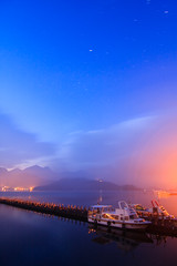 (samyaoo) Tags: lake mountains reflection sunrise star pier taiwan  wharf    sunmoonlake nantou          samyaoo