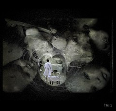 after auschwitz (Eddi van W.) Tags: white texture love against butterfly dark creativity war dolls transformation heart head handmade gothic digitalart gimp creativecommons brushes isolation meditation spirituality spiritual healing auschwitz protection deepness feelings kreativität eddi07