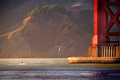 The Kite and the Bridge (gcquinn) Tags: ocean california bridge kite tower sport golden bay gate san francisco pacific wind para anniversary geoff south marin surfing adventure quinn headlands sailor geoffrey northern 75 inspire 75th boarding parasailor