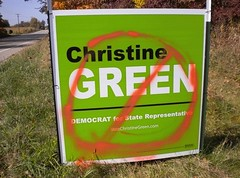 Defaced Christine Green sign