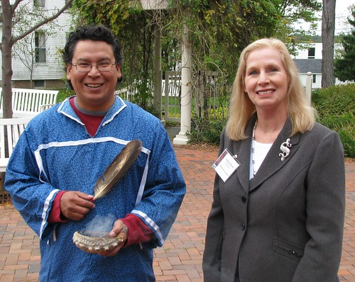 Aroostook Band of Micmacs Cultural Director John Dennis performed a smudging ceremony for attendees at the Tribal Consultation. In the photo are John Dennis and USDA Rural Development State Director Virginia Manuel