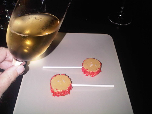 Started with a glass of champagne and a foie gras lolli pop each
