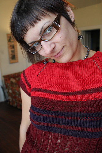101015. ridiculous leftover yarn top (which i kind of love).