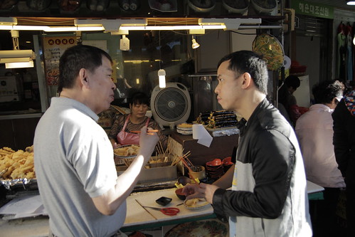 Dad and Ming Jin having some street food