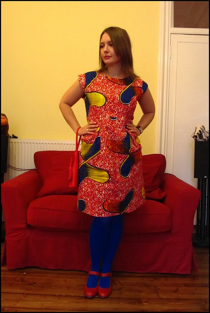 9.10.10: primary colours african wax print dress