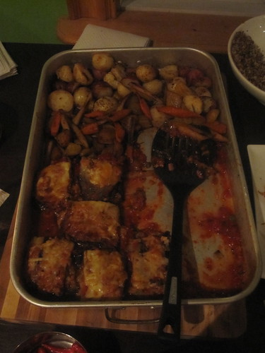 Roasted veggies, rosted potatoes with truffle oil, eggplant lasagna